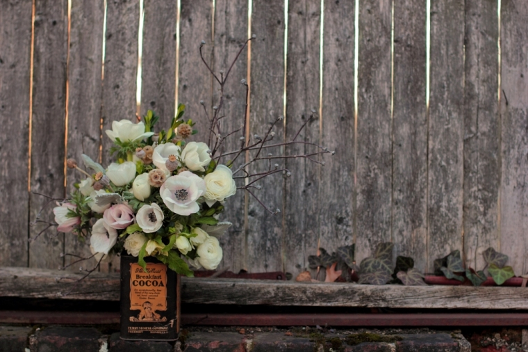 Early spring floral arrangement with anemones